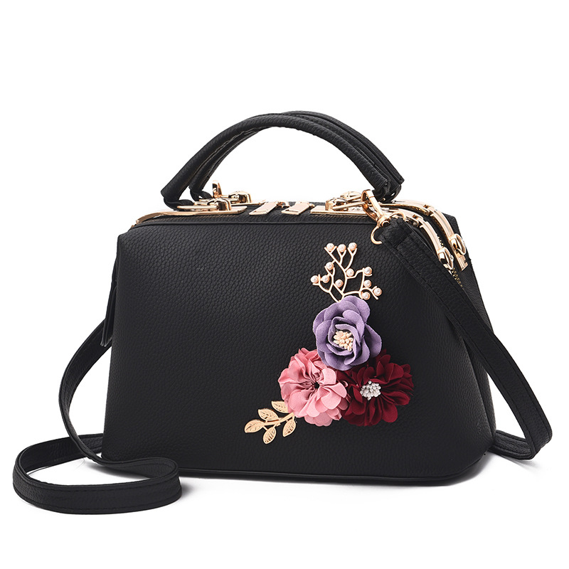 Classic Handbag with Floral accent